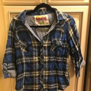 Derek Heart Blue Plaid Button Down Shirt sz L NWT